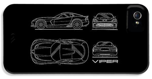 Viper iPhone 5 Case - Srt Viper Blueprint by Mark Rogan