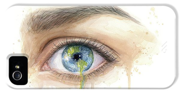 Eyeball iPhone 5 Case - Earth In The Eye Crying Planet by Olga Shvartsur