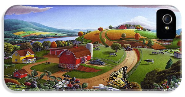 Folk Art Blackberry Patch Rural Country Farm Landscape Painting - Blackberries Rustic Americana IPhone 5 / 5s Case by Walt Curlee