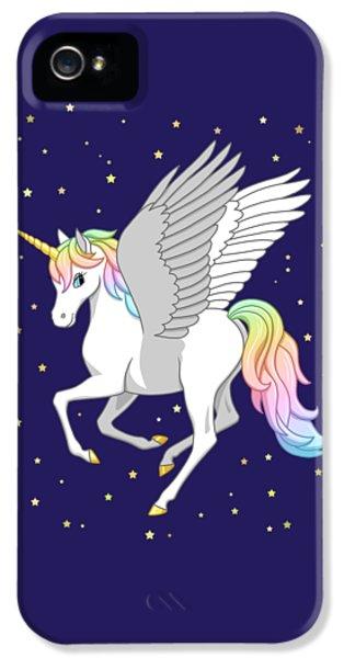 Pretty Rainbow Unicorn Flying Horse IPhone 5 Case