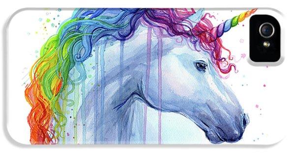 Magician iPhone 5 Case - Rainbow Unicorn Watercolor by Olga Shvartsur