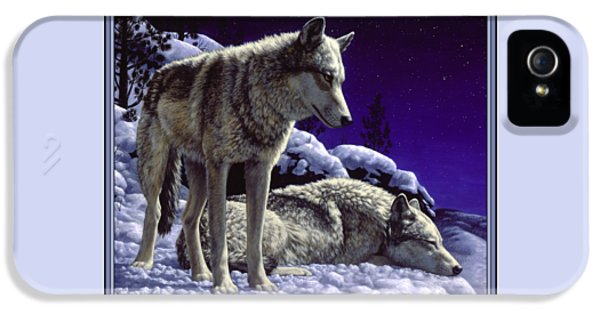 Wolves iPhone 5 Case - Wolf Painting - Night Watch by Crista Forest