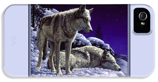 Wolf Painting - Night Watch IPhone 5 Case by Crista Forest
