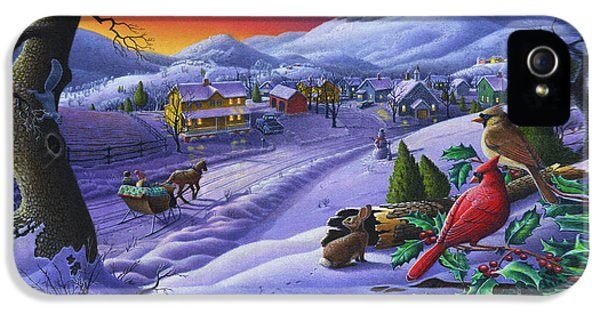 Christmas Sleigh Ride Winter Landscape Oil Painting - Cardinals Country Farm - Small Town Folk Art IPhone 5 Case