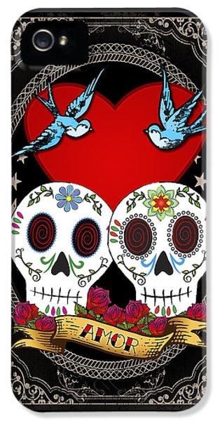 Bluebird iPhone 5 Case - Love Skulls II by Tammy Wetzel
