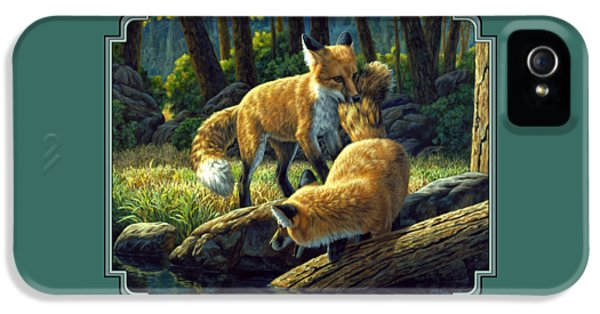 Red Foxes - Sibling Rivalry IPhone 5 Case by Crista Forest