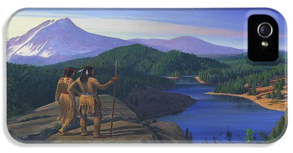 Native American Indian Maiden And Warrior Watching Bear Western Mountain Landscape IPhone 5 Case by Walt Curlee