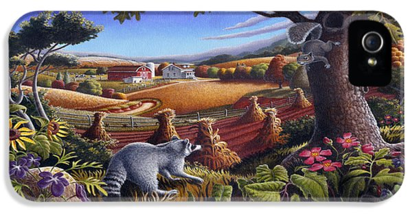 Rural Country Farm Life Landscape Folk Art Raccoon Squirrel Rustic Americana Scene  IPhone 5 Case