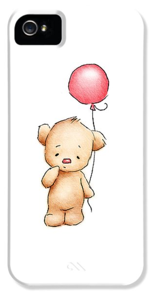 Teddy Bear With Red Balloon IPhone 5 Case by Anna Abramska