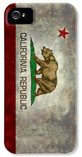 California Republic State Flag Retro Style IPhone 5 Case by Bruce Stanfield