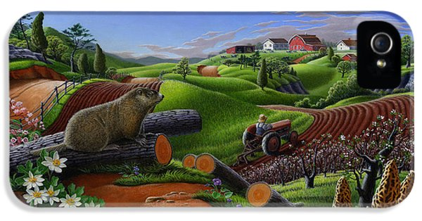 Farm Folk Art - Groundhog Spring Appalachia Landscape - Rural Country Americana - Woodchuck IPhone 5 / 5s Case by Walt Curlee