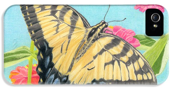 Swallowtail Butterfly And Zinnias IPhone 5 Case by Sarah Batalka