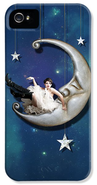 IPhone 5 Case featuring the digital art Paper Moon by Linda Lees
