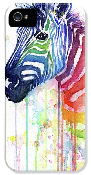 Rainbow Zebra - Ode To Fruit Stripes IPhone 5 Case by Olga Shvartsur