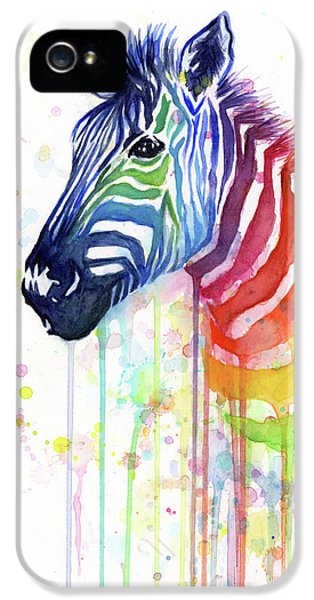 Animals iPhone 5 Case - Rainbow Zebra - Ode To Fruit Stripes by Olga Shvartsur