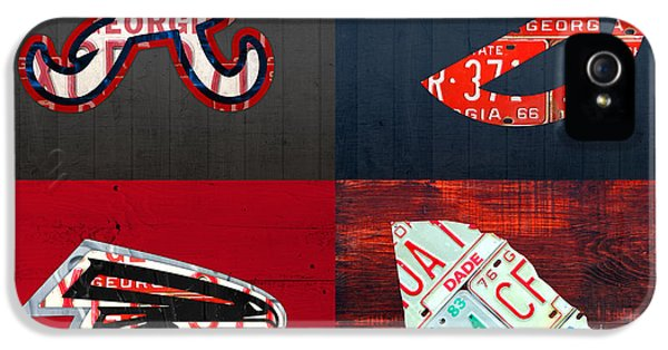 Atlanta Sports Fan Recycled Vintage Georgia License Plate Art Braves Hawks Falcons Plus State Map IPhone 5 Case