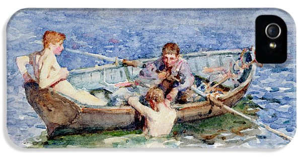 Boats iPhone 5 Cases - August Blue iPhone 5 Case by Henry Scott Tuke