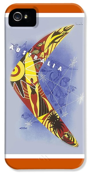 Kangaroo iPhone 5 Case - Australia Boomerang Aboriginal Art National Travel Association Vintage World Travel Poster by Retro Graphics