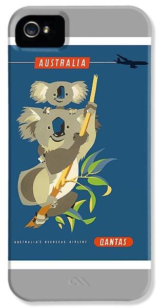 Koala iPhone 5 Case - Australia Koala Bears Qantas Empire Airways Vintage Travel Poster by Retro Graphics