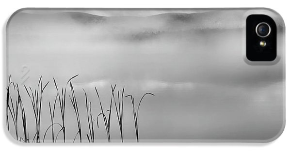 IPhone 5 Case featuring the photograph Autumn Fog Black And White Square by Bill Wakeley