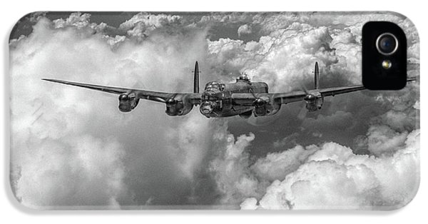 IPhone 5 Case featuring the photograph Avro Lancaster Above Clouds Bw Version by Gary Eason