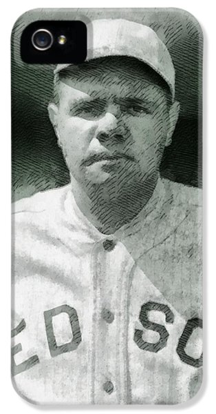 Babe Ruth iPhone 5 Case - Babe Ruth, Baseball Player by John Springfield