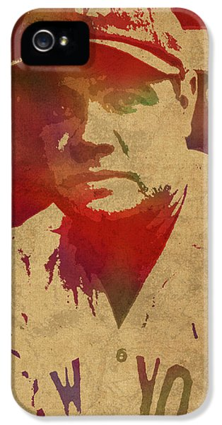 Babe Ruth Baseball Player New York Yankees Vintage Watercolor Portrait On Worn Canvas IPhone 5 Case
