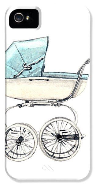 Baby Carriage In Blue - Vintage Pram English IPhone 5 Case by Laura Row