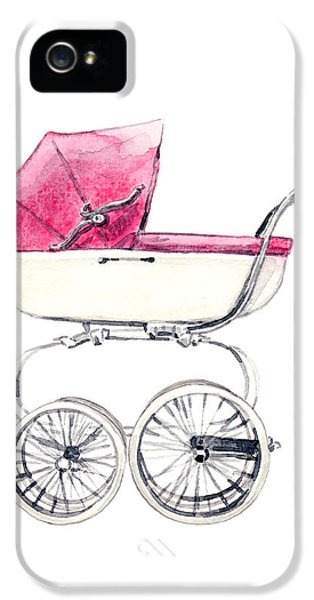 Baby Carriage In Pink - Vintage Pram English IPhone 5 Case by Laura Row
