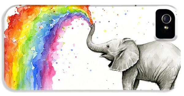 Baby Elephant Spraying Rainbow IPhone 5 Case by Olga Shvartsur