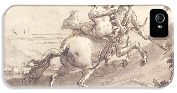 Centaur iPhone 5 Case - Back View Of A Centaur Abducting A Satyress by Giovanni Domenico Tiepolo