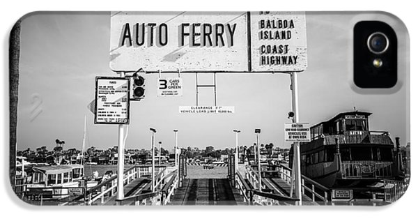 Balboa Island Ferry Black And White Picture IPhone 5 Case by Paul Velgos