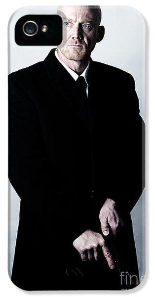 Bald Headed Man Wearing Heavy Black Overcoat Cocking Automatic Handgun Model Released Image IPhone 5 Case by Joe Fox