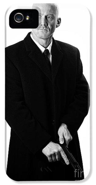 Bald Headed Man Wearing Heavy Black Overcoat Cocking Automatic Pistol IPhone 5 Case by Joe Fox