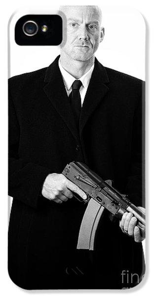 Bald Headed Man Wearing Heavy Black Overcoat Holding Ak-47 IPhone 5 Case by Joe Fox