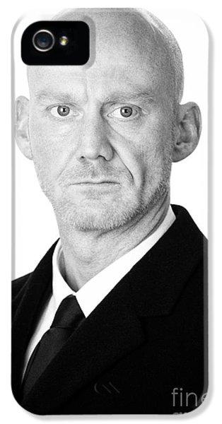 Bald Headed Man Wearing Heavy Black Overcoat IPhone 5 Case by Joe Fox
