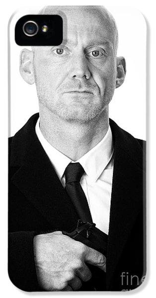 Bald Headed Man Wearing Heavy Black Overcoat Pulling Handgun Out Of Pocket  IPhone 5 Case by Joe Fox
