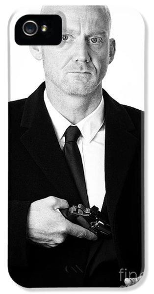 Bald Headed Man Wearing Heavy Black Overcoat Showing Revolver In Inside Pocket IPhone 5 Case by Joe Fox
