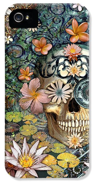 Bali Botaniskull - Floral Sugar Skull Art IPhone 5 Case by Christopher Beikmann