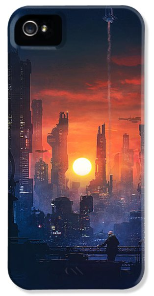 Barcelona Smoke And Neons The End IPhone 5 Case by Guillem H Pongiluppi