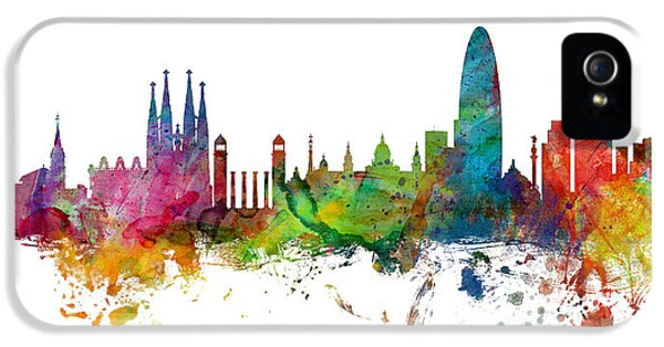 Barcelona Spain Skyline Panoramic IPhone 5 Case by Michael Tompsett