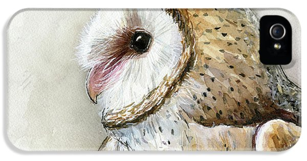 Owl iPhone 5 Case - Barn Owl Watercolor by Olga Shvartsur