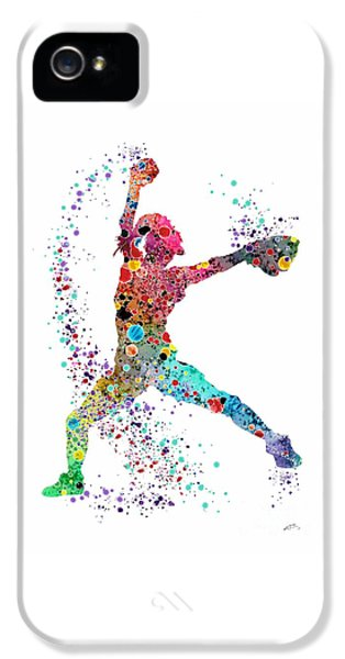 Softball iPhone 5 Case - Baseball Softball Pitcher Watercolor Print by Svetla Tancheva