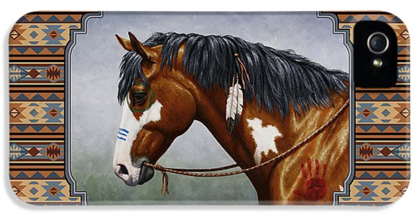 Bay Native American War Horse Southwest IPhone 5 Case by Crista Forest
