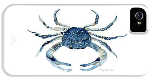 Beach House Sea Life Blue Crab IPhone 5 Case by Audrey Jeanne Roberts