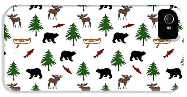 IPhone 5 Case featuring the mixed media Bear Moose Pattern by Christina Rollo