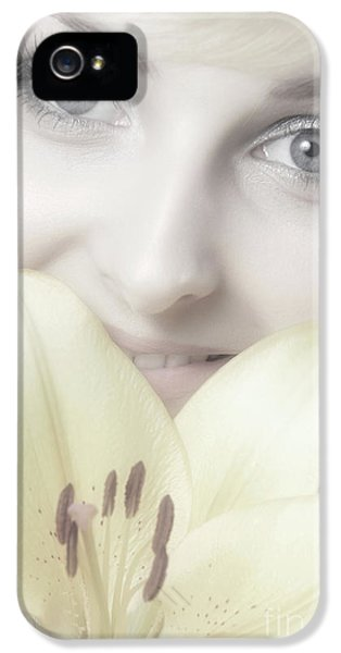 Beautiful Young Woman With A Yellow Lily IPhone 5 / 5s Case by Oleksiy Maksymenko