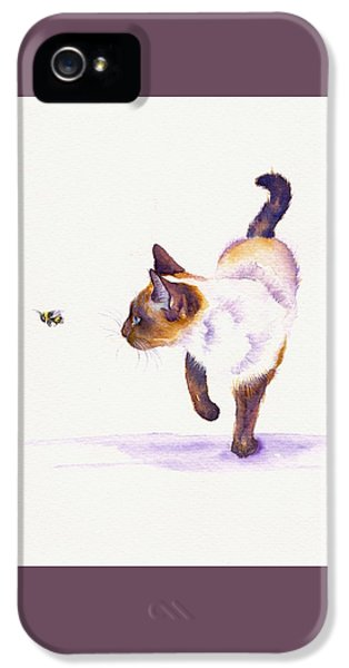 Cat iPhone 5 Case - Bee Free by Debra Hall