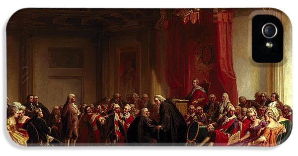 Benjamin Franklin Appearing Before The Privy Council  IPhone 5 Case by Christian Schussele