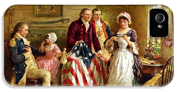 Betsy Ross And General George Washington IPhone 5 Case by War Is Hell Store